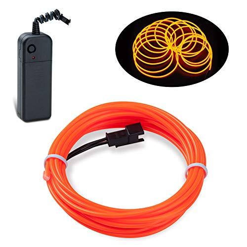 Lychee Flexibel 9ft 3 m EL Wire Neon Beleuchtung Draht Lichtschlauch Leuchtschnur EL Kabel Wire mit 3 Modis für DIY Weihnachtsfeiern Rave Partys Halloween Kostüm (Orange)