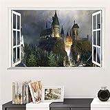 ZWXDMY Kunstfensteraufkleber,Magic Alte Burg Poster 3D