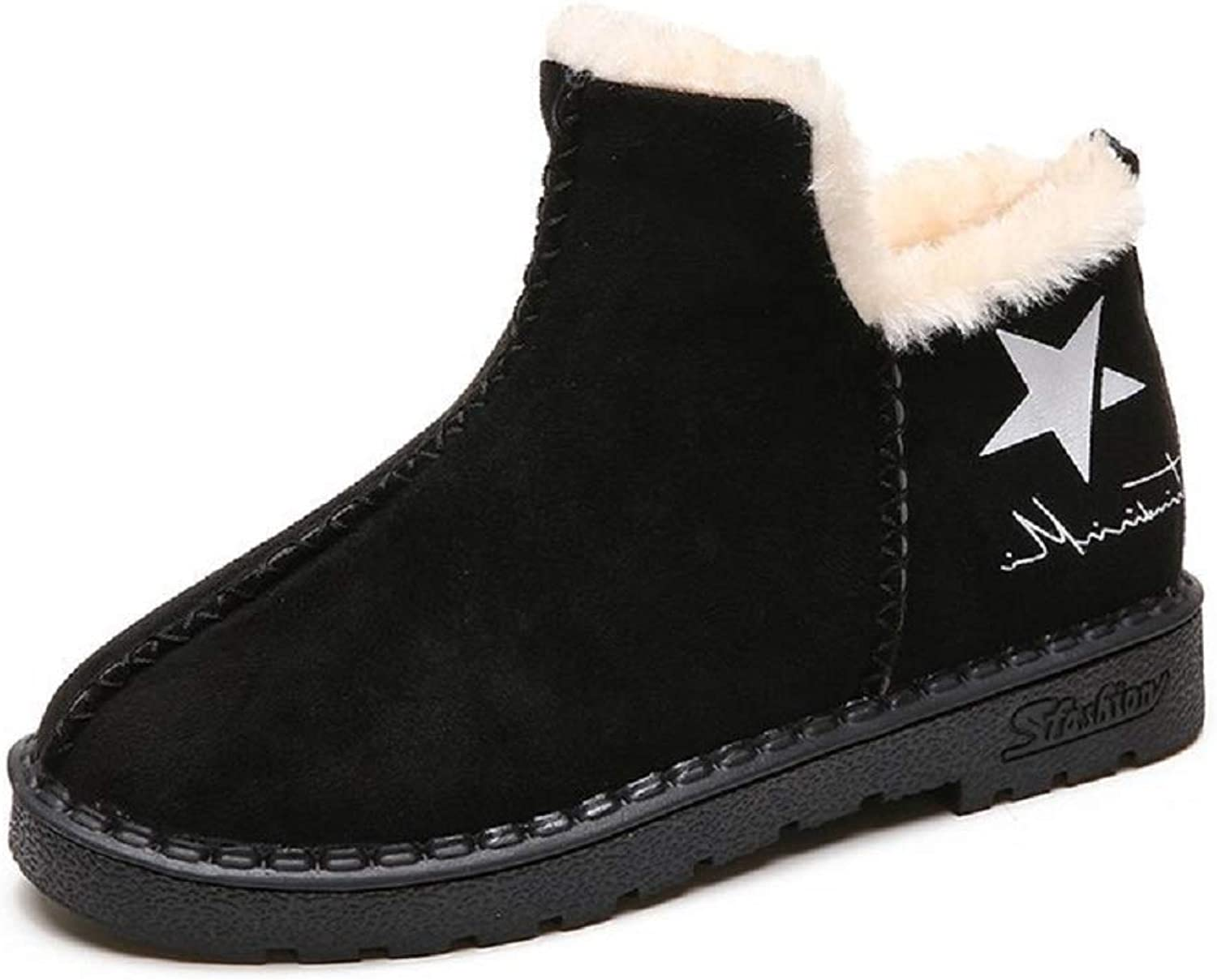 LingGT Women Star Boots Fleece Lined Flat Warm Slip on shoes (color   Black, Size   CA 7)