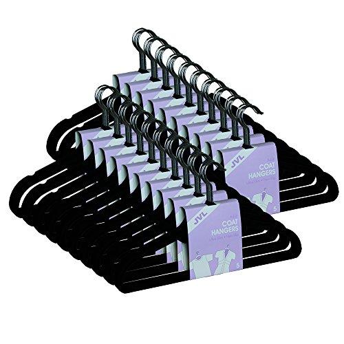 JVL - Grucce per Cappotti in Velluto Sottile salvaspazio, Confezione da 50, Colore: Nero