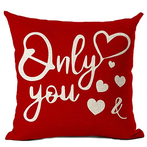 JIAOAO 1 funda de almohada de San Valentín de 45 x 45 cm, funda de almohada para sofá, decoración del día de San Valentín, funda de almohada
