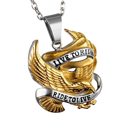 Cupimatch Herren Edelstahl Halskette, Gold Adler mit Gravur Live to Ride Anhänger Hochglanz Poliert mit 55cm Kette, Silber schwarz