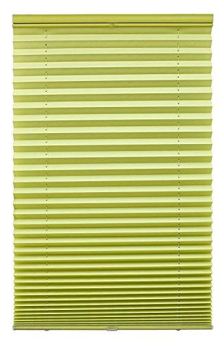 Liedeco® Plissee freihängend mit Klemmträger / 100 x 130 cm apfelgrün (Breite x Höhe) / lichtdurchlässig blickdicht und stufenlos verstellbar / viele Farben und Größen / Breiten 43 - 100 cm / variable und einfache Montage möglich