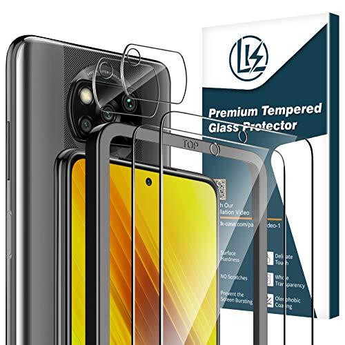 LK Compatible con Xiaomi Poco X3 NFC/Xiaomi Poco X3 Pro Protector de Pantalla,2 Pack Cristal Templado y 2 Pack Protector de Lente de cámara, Doble protección, Kit de Instalación Incluido