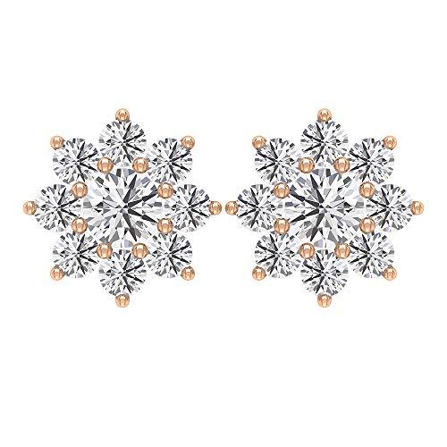Orecchini a forma di fiore di diamante, orecchini da matrimonio unici, orecchini a perno con diamante HI-SI, orecchini floreali, cartilagine, orecchini impilabili da donna 14K Oro rosa, Paio