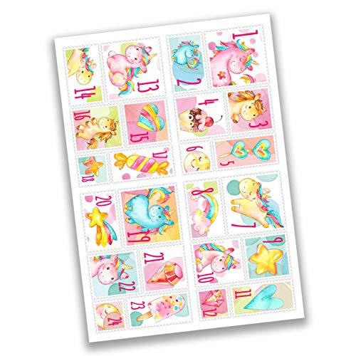 Papierdrachen 24 Adventskalender Zahlenaufkleber - Briefmarke Einhörner Nr 50 - Sticker - zum Basteln und Dekorieren