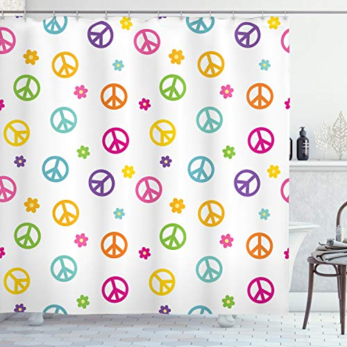 Ambesonne Groovy Shower Curtain, Peace Lifestyle Sign Slogan Celebration Merry Jolly Happy Theme Design, Cloth Fabric Bathroom Decor Set with Hooks, 70' Long, White