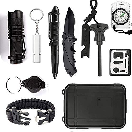 DHOUTDOORS 12 in 1 Notfall Survival Kit Selbsthilfe Außen Survival Kit Box Notfall-Überlebens-Kit Multi-Tool Survival-Kits Für Camping, Bushcraft, Wandern, Jagd und Ihr Outdoor Abenteuer