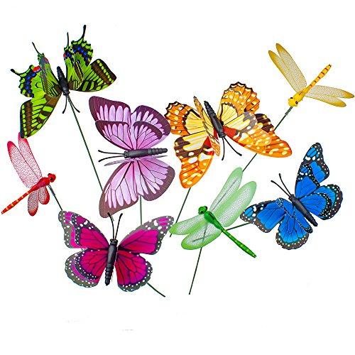 20 farfalle a doppie ali con paletto + 4 libellule con paletto, 3D e multicolori, per ambienti esterni, giardini, vasi, fiori, letto, casa, decorazioni, halloween, Natale