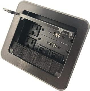 Yolkvisual Conference Table Connectivity AV Box 2 AC + 1 HDMI + 1 USB + 2 RJ45 Black