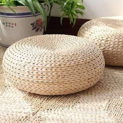 "MAHAO Straw Flat Seat Cushion, Handmade Floor Pouf Mat, Ottoman Footstool for Meditation, Zen, Yoga Practice or Buddha (15.7"" Dia. x 6.3"" H)"