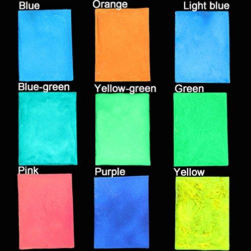 Bluelover 9 couleurs fluorescentes de décoration d'ongle de poudre lumineuse lumineux lumineux