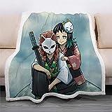 XCMMK La tela escocesa del lecho de la manta de lana de cordero de doble capa 3D es ligera y cómoda Dibujos animados anime personajes pareja De gran tamaño 150x200cm (59x78.7 pulgadas) Regalos de vaca