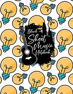 Blank Sheet Music Notebook: Blank Sheet Music Notebook, lamp bulb, idea, solution design style, Funny lamp bulb Sheet Musi...