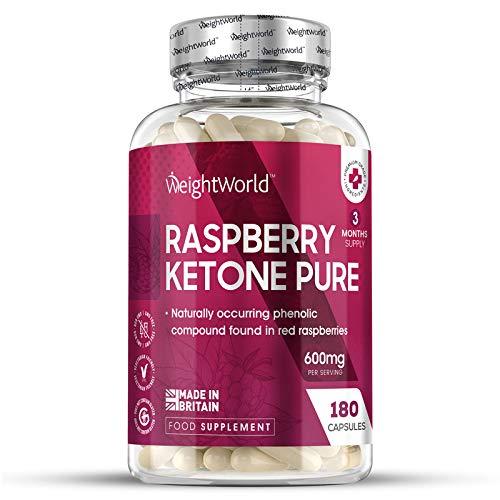 Cétone de Framboise 600 mg 180 Keto Gélules Vegan – 100% Naturel Raspberry Ketone Pure WeightWorld – Contient des composés phénoliques – Sans OGM ni Gluten ou Lactose