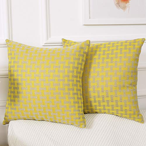 Madizz Throw Pillow Cases Cushion Covers 18x18 Set of 2 Pack Decorative for Home Living Room Office Hotel Dorm Couch Bed Car Outdoor Sofa Plaid Checkered Lemon Yellow and Gray Double Sided