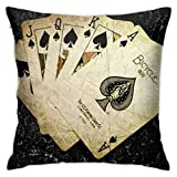 antkondnm Ace of Spades Cards Paint Poker Plush Soft Solid Decorative Square Throw Pillow Covers Set Cushion Case for Sofa Bedroom Car 18 X 18 Inches