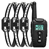 Dog Shock Collar with Remote, Waterproof Shock Collar for Dogs, Rechargeable Dog Training Collar,Modes Beep Vibration Shock and Light 1000Ft Remote Range Bark Collar for Small, Medium, Large Dogs (3)