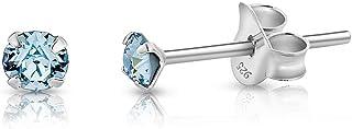 DTPsilver - Orecchini a Perno Molto PICCOLI - Argento 925 con Cristalli Swarovski® Elements Rotondi - Diametro 3 mm - Scel...