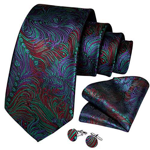 WOXHY Cravate Homme Boutons de Manchette en Soie Rouge Bleu Violet Pourpre nouveauté Mariage Cravate Set Design Party Business
