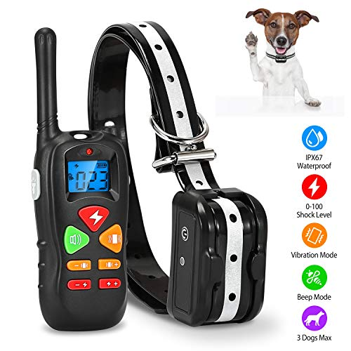 KOCASO iMounTEK Dog Training Collar Dog Shock Collar with Remote IP67 Waterproof 300mAh Rechargeable 1640ft Remote Dogs Pet Trainer with LED Light Beep Vibration Shock for Medium/Large Dogs