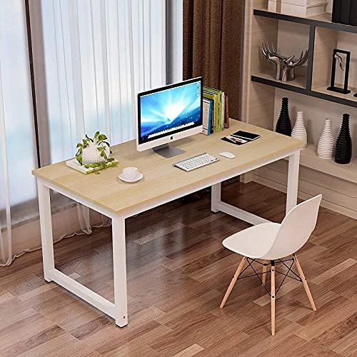 Computertisch 140×60×75cm, Holz Metall, Simple Schreibtisch Klein, Multifunktional PC Tisch Bürotisch Office Tisch Arbeitstisch für Home Office, Schreibtische & Arbeitsplätze, Eiche-Weiß