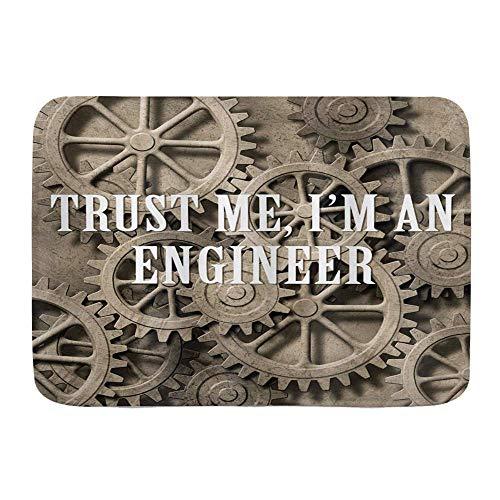 Bath Mat Rug,Engineering Trust Me Im an Engineer Typography Funny Job Themed Saying on Wheels,Plush Bathroom Decor Mats with Non Slip Backing,19.5'x31.5'