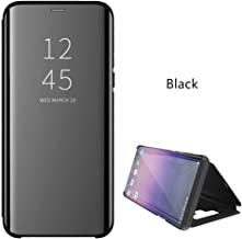 ZEPIN Galaxy Note 9 Case, Luxury Clear View Window Front Smart Sleep/Wake Up Function Mirror Screen Flip Electroplate Plating Stand Full Body Protective Cover Case for Samsung Galaxy Note 9(Black)