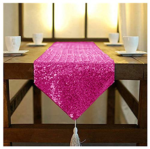 ShinyBeauty SequinTableRunners with Tassel 12x90-Inch-Hot Pink Shimmer Dining Table Runners Sequined Hotel Bed Coffee Table Runners (12x90, Hot Pink)