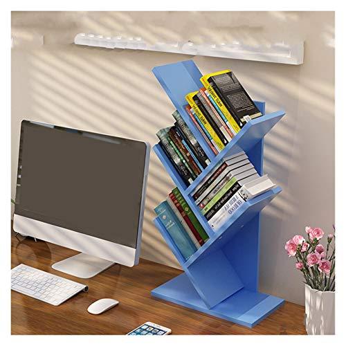 WENAN Libreria Bookshelf Desk Creativo Studio Libreria Albero a Forma di Decoro di mobili Book Rack Multi-Grid Bagagli Mensola espositore in Legno Mensola scaffale (Color : Blue 5 Tire)
