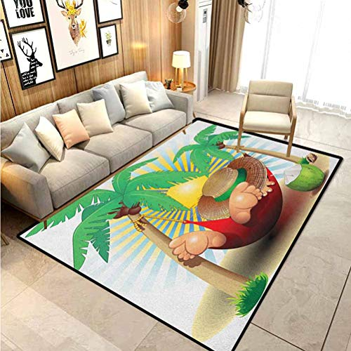 Beach Bath Rugs Rugs and Carpets Indoor Outdoor Rug Cute Illustration Relax Exotic Summer Holidays on Hammock Theme Hot Paradise Lands Stair treads Carpet Multicolor 4 x 5 Ft