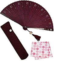 大阪 長生堂 扇子 レディース 女性用 高級 ビジネス 扇子入れ ハンカチ付セット 和装小物 プリモ 赤葡萄