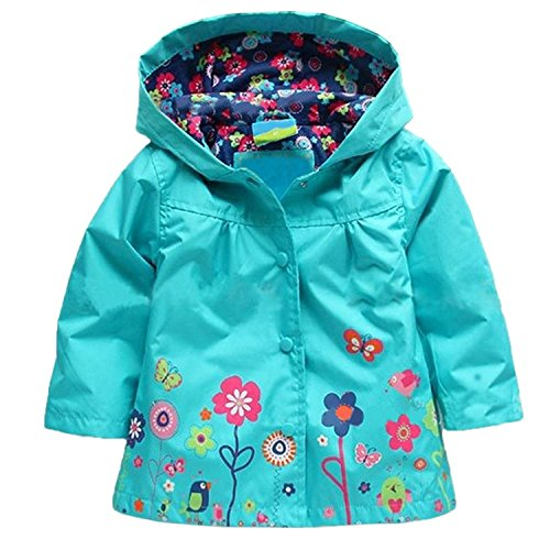 Arshiner Girl Baby Kid Waterproof Hooded Coat Jacket Outwear Raincoat Hoodies 2-6 Y,Blue,130(Age for 5-6Y)