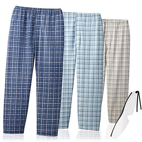 お父さんのゆったりパジャマズボン 同サイズ3色組(メンズ 紳士用 パジャマ パンツ)しおり型ルーペ付  AS-0008 (M)