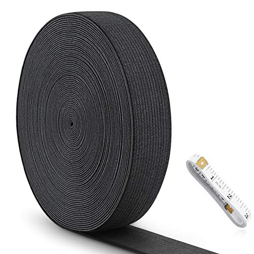 Sewing Elastic Band 1 inch, Knit Elastic Band, Elastic Tape for Sewing, High Elasticity, Comfortable, for Sewing Clothes and Pants Wig Crafts DIY (Black, 11 Yard) ZSOUUI