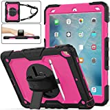 SEYMAC stock Case for iPad Air 3, [Full-body] Drop-Proof Protection Case with 360 Degrees Rotating Stand [Screen Protector] [Pen Holder] Hand Strap for iPad Air 3 2019/iPad Pro 10.5' 2017 (Rose+Black)