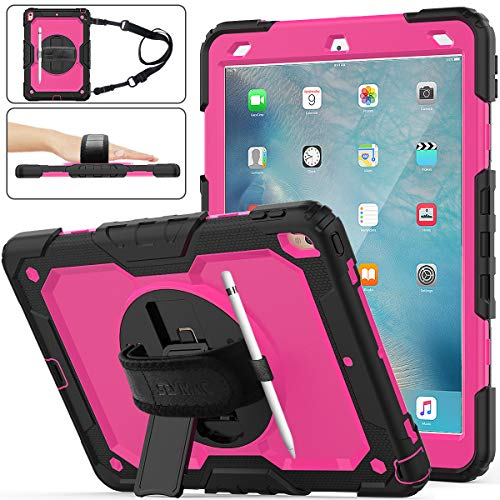 iPad Air 3 Case, SEYMAC Stock [Full-Body] Drop Proof Hybrid Armor Case with 360 Rotating Stand [Pencil Holder][Screen Protector] Hand Strap for iPad Air 3 10.5' 2019/iPad Pro 10.5' 2017(Rose+Black)