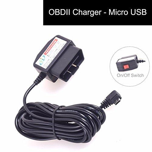 OBD2 DVR Dashcam laadkabel Micro USB adapter met schakelaar DC 12-24V naar 5V 16 pin OBDII auto/voertuig direct op de batterij/vaste kabel autolader voor mobiele telefoon GPS tablet - 3M / 11.5FT