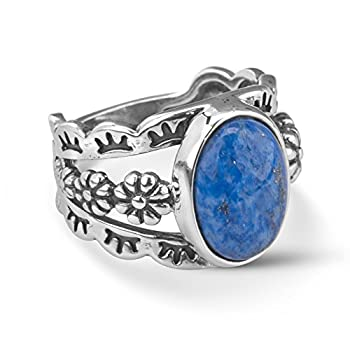 American West Sterling Silver Blue Denim Lapis Gemstone Floral Concho Motif Wide Ring Size 07