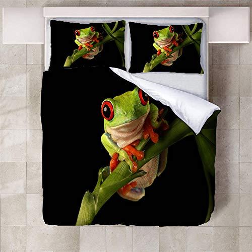 IXGMI 3D Digital Print Bedding,Frog Insect,Duvet Cover Set 3pcs Bedding Set with Zipper Closure, Ultra Soft Microfiber Quilt Cover Set 200x200cm