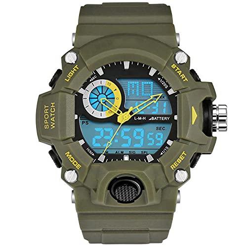 WNGJ Relojes de Estudiantes, Relojes LED de montañismo al Aire Libre multifunción para Hombres, Relojes Deportivos Juveniles, Relojes electrónicos Impermeables con Pantal Armygreen