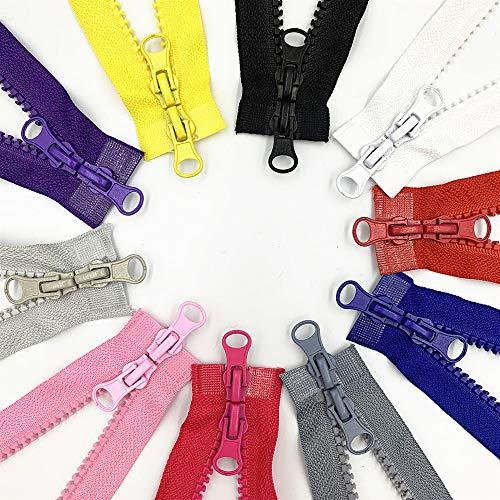 10 piezas 5# 31.5 pulgadas separador de dos vías chamarra con cremallera para costura chaqueta abrigo plástico moldeado grande cremalleras de resina Bulk 10 colores, 90 cm