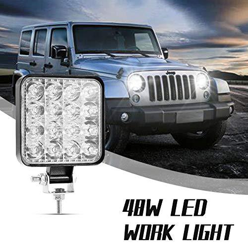 Leetop 2 Pieza 18W LED L/ámpara Faro Luz Blanca Fr/ía Luz Trasera Para Coche Trabajo Faro Impermeable IP67