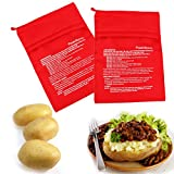 Microwave Cooker, Perfect Potatoes in Just 4 Minutes, Baked Pouch Potato Bag, For Fresh and tender salad, Fluffy bread and corn Cooker Bag, Washable and Reusable, 9.8 7.5 Inch - Red - (2 Pack)