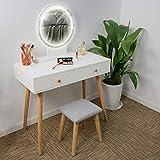 Ezigoo Conjunto de tocador con Espejo de Luces LED - Mesa Blanca de Maquillaje con 2 cajones, Taburete Acolchado y Espejo de luminosidad Ajustable para el Cuarto de Maquillaje