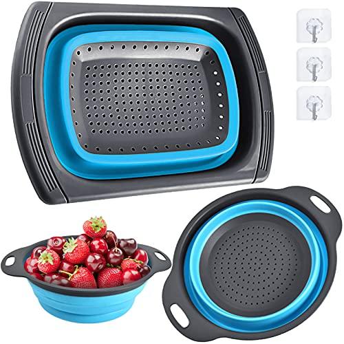 BEYAOBN 3 Piezas Colador plegable, Robusto y Sin BPA,Escurridor Extensible con Mango Antideslizante - Perfecto para Escurrir Verduras, Frutas, Pastas(azul)
