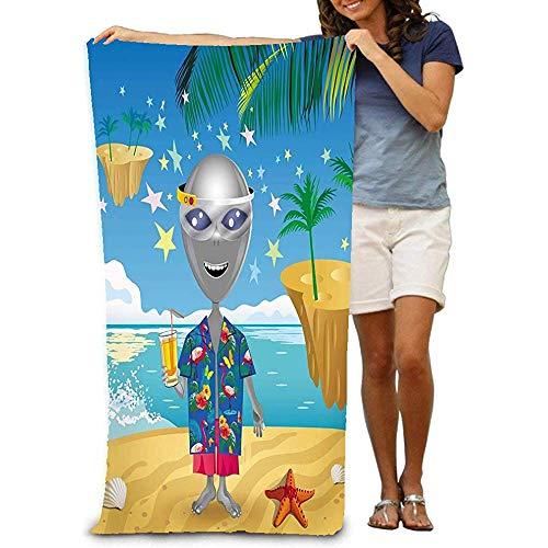 chillChur-DD Bath Towel Badetuch Badetuch Bequeme,schnell trocknende Badetücher Bild Fröhlich Alien Virtual Reality Brille Beac Hawaiihemd Sunny Beach Fantasy