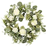 18 inch Artificial Spring Wreath White Peony Floral Wreath for Front Door Wall Wedding Party Home Decor