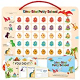 Potty Training Chart for Toddlers,Boys,Girls - Dinosaur Design - Magnetic Sticker Chart, Waterproof Magnetic Potty Training Reward Chart, Certificate, 3 Instruction Steps, 35 Magnetic Stickers (Beige)