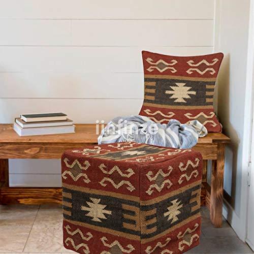 iinfinize Funda de almohada tejida a mano Kilim Kilim Puf & Wool yute almohada anudada funda de almohada decorativa sofá Sham Vintage...
